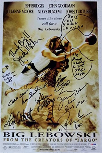 THE BIG LEBOWSKI Discard Signed 11x17 Photo JEFF BRIDGES Auto PSA COA INSRIBED