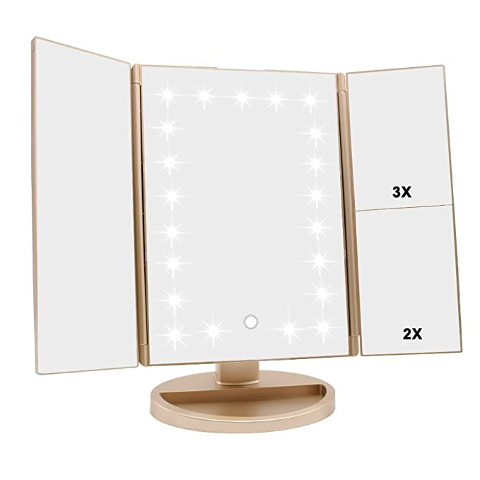 Tri Fold Lighted Vanity Makeup Mirror With 3x/2x/1x Magnification, 21 Leds Light And Touch Screen,180 Degree Free Rotation Countertop Cosmetic Mirror,Travel Makeup Mirror (Gold) by Wudeweike