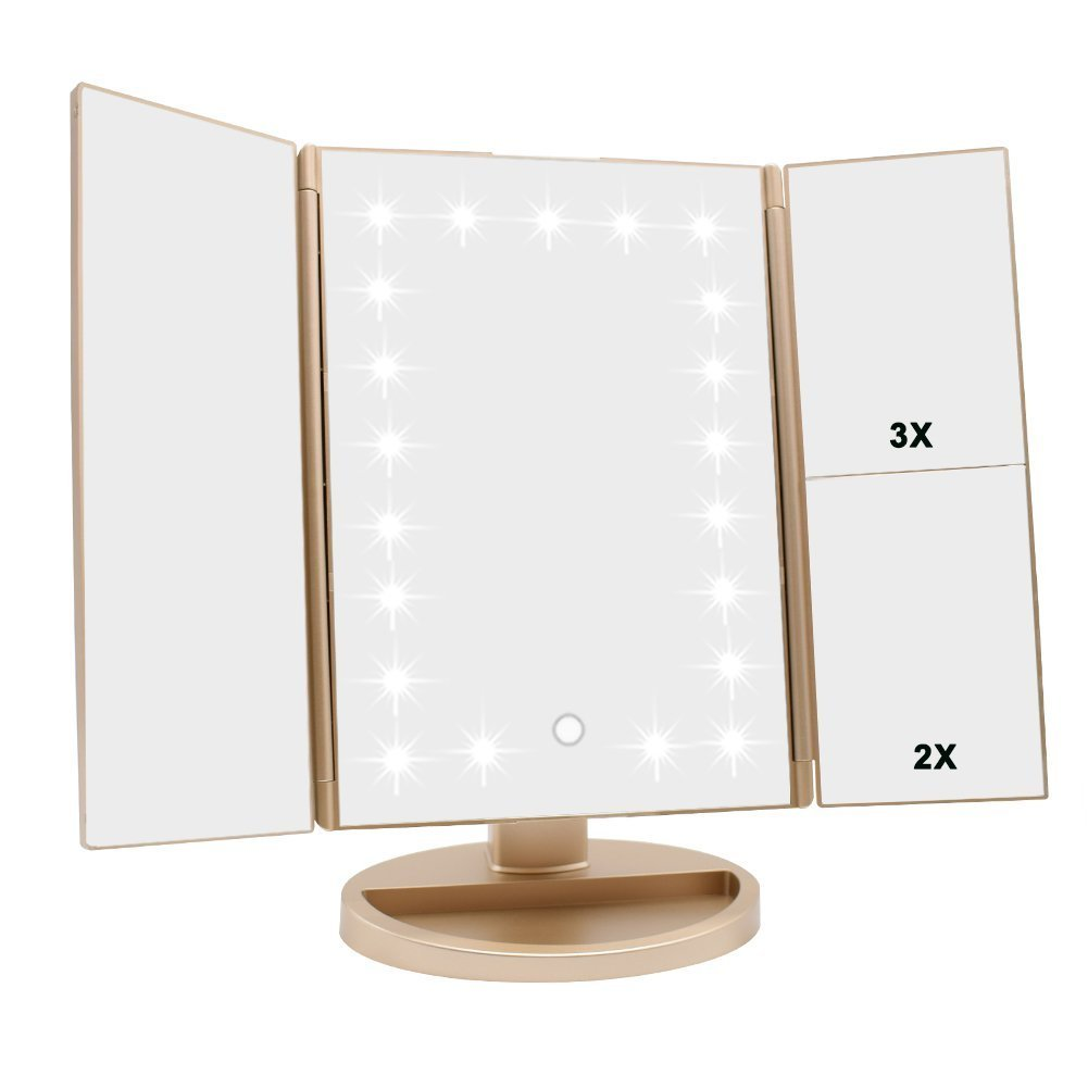 Tri-fold Lighted Vanity Makeup Mirror with 3x/2x/1x Magnification, 21Leds Light and Touch Screen,180 Degree Free Rotation Countertop Cosmetic Mirror,Travel Makeup Mirror (Gold)