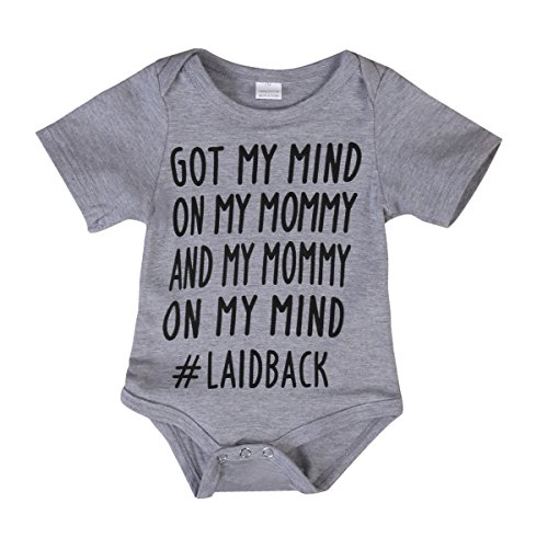 ONE'S Newborn Infant Baby Girls Boys GOT MY MIND ON MY MOMMY Bodysuit Romper Outfits (3-6 Months, Grey) -