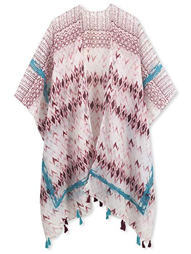 Spicy Sandia Swimsuit Cover ups for Women with Tassel Open-Front Kimono Cardigan with Berry Red Chevron Beach Cover up