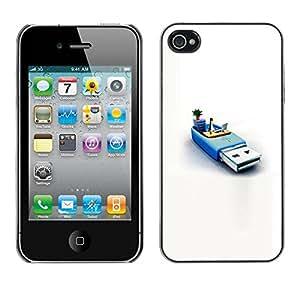 LASTONE PHONE CASE / Carcasa Funda Prima Delgada SLIM Casa Carcasa Funda Case Bandera Cover Armor Shell para Apple Iphone 4 / 4S / Penguin Pc Computer System