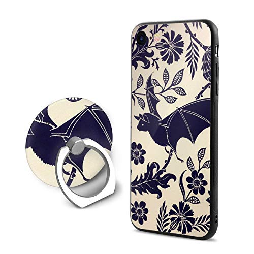 (Bat Flowers iPhone 7/8 Phone Case with Ring Bracket Anti-Slip Protective Bumper 360 Degree Rotation Ring)