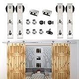HomeDeco Hardware 13 FT Stainless Steel Roller Sliding Door Track Closet Cabinet Set Fit Double ...