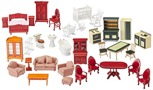 Dollhouse Furniture Doll (Melissa & Doug Classic Victorian Wooden and Upholstered Dollhouse Furniture (35 pcs))