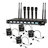 Pyle 8 Ch UHF Wireless Microphone System and Rack Mountable Base 4 Handheld MICS 4 Headsets, 4 Belt Packs, 4 Lavelier/Lapel MIC with Independent Volume Controls AF and RF Signal Indicators (PDWM8350)