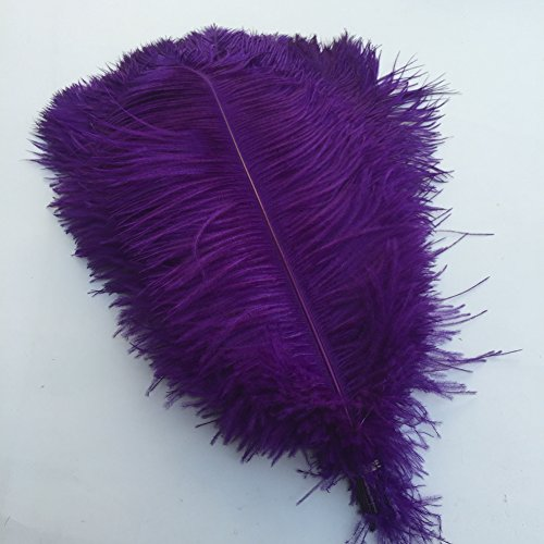 Shekyeon Purple 18-20inch 45-50cm Ostrich Feather Wedding Table Decoration Party Festival Supplies Pack of 5