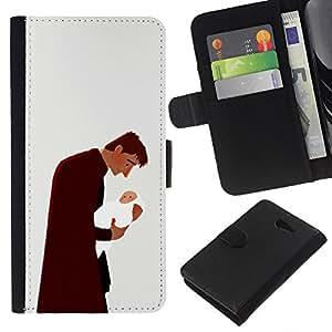 KLONGSHOP // Tirón de la caja Cartera de cuero con ranuras para tarjetas - Hombre del bebé del niño del padre de la familia del arte del amor - Sony Xperia M2 //