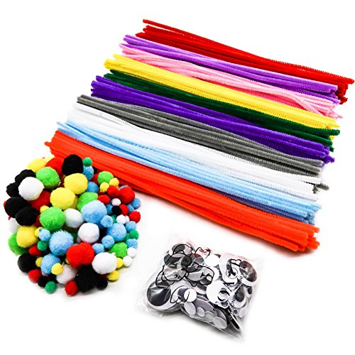 TOAOB 200 Rainbow Pompoms 200 Pipe Cleaners 100 Self-sticking Googly Eyes DIY Art Supplies for Children's Craft Projects Paper Crafts Holiday Crafts Kit 500 PCS - Diy Halloween Costumes For Two People