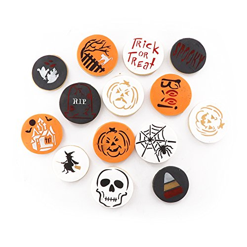 Halloween Decoration Stencil Cookie Mold, Food Grade Plastic, Pack of 14 Pieces Cookie Stencil ()