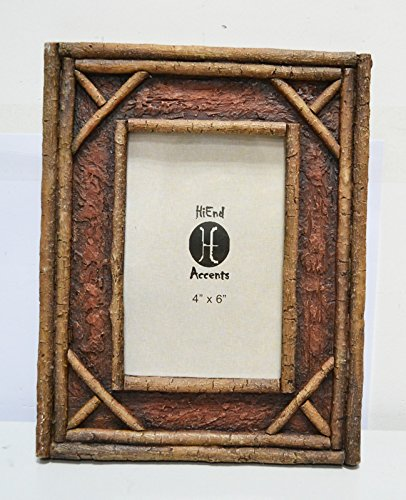 HiEnd Accents Lodge Birch Twig Frame, 4 by 6-Inch