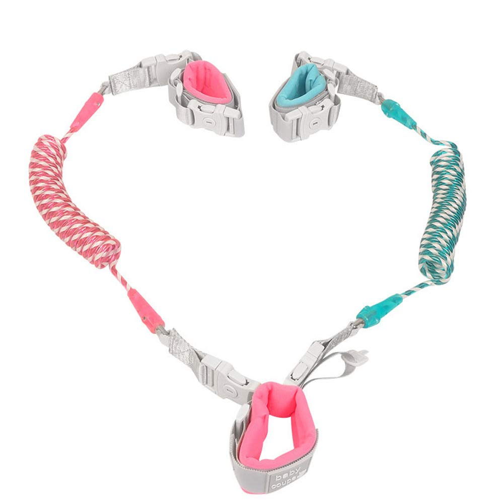 MQC Children's Anti-Lost Traction Rope Anti-Lost Bracelet Twin Baby Anti-Lost Rope 2.5M,Pink,2.5m