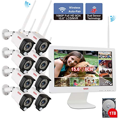 【2019 New】 All in One with 15.6inch Monitor 1080P Security Camera System Wireless,Tonton 8CH Outdoor Home Camera System(1TB Hard Drive),8pcs 2.0MP Bullet IP Cameras,Free APP,PIR Sensor N Audio Record