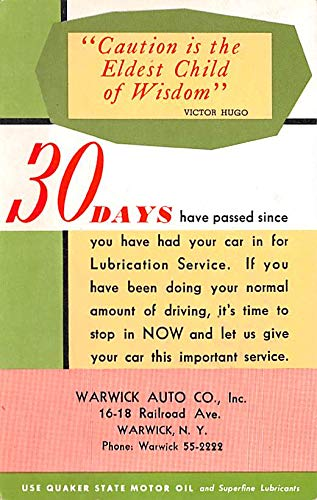 Warwick Post - Advertising Post Card Warwick Auto Co Warwick NY, USA Unused