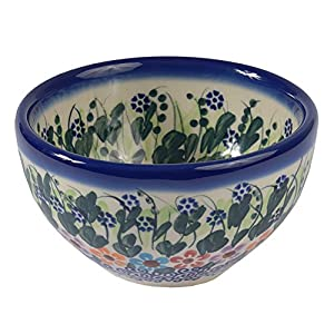 Traditional Polish Pottery, Boleslawiec Style Handcrafted Ceramic Snack & Dip Bowl d.10cm (200ml) M.700.Daisy