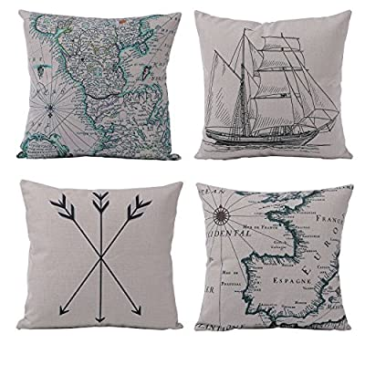 Azuki Geometry Decorative Throw Pillow Cases Cushion Covers Pillowcases for Sofa Bedroom Car 18 x 18 Inch 45 x 45 Cm Set of 4