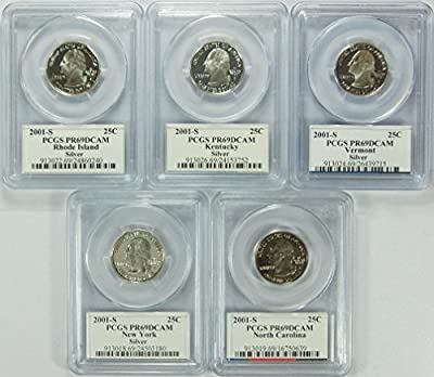 2001 S Rhode Island, Kentucky, Vermont, New York, North Carolina Silver Statehood Quarter DCAM PCGS PR-69