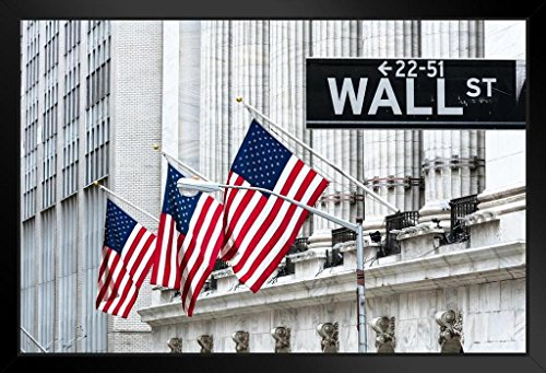 New York Stock Exchange Wall Street New York City Photo Art Print Framed Poster 18x12 by ProFrames