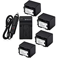 Powerextra 4 Pack Replacement Canon BP-727 Fully Decoded Battery and Charger for Canon CG-700 VIXIA HF R30 R32 R40 R42 R50 R52 R60 R62 R66 R70 R72 R300 R400 R500 SLR Cameras as BP-727F BP-718