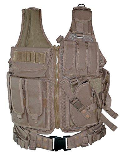 Sniper 600D Polyster Oxford Hunting Fishing Cross Draw Vest Tactical Tan