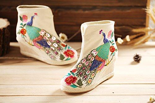 &ZHOU Bottes courtes imperméable à l'eau en automne/hiver / / / caoutchouc bottes/talons/brodé rétro/ethnique/nouveaux modèles/manuel/femme , white , 38