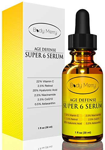 Best Vitamin C Serum 22% for Anti-Aging Wrinkles Fine Lines Acne Sun and Age Spots - Also has 2.5% Retinol  20% Hyaluronic Acid  2.5% Niacinamide  2.5% CoQ10  0.5% Astaxanthin - By Body Merry