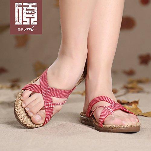 e per manzo leggera donna pantofole tendine 43 Sandali sandali dimensioni di di all'aperto 34 beige moda grandi Casa estivi 42 suola ciabatte BAOZIV587 iarde 6qCPXxq