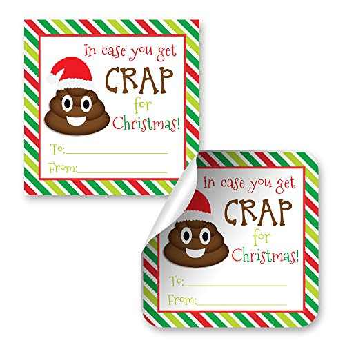 (in Case You Get Crap Poop Emoji Gag Gift Tag Stickers, Set of 12 2.5 X 2.5 Funny Square Christmas Present Labels by AmandaCreation)