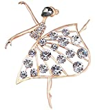 FENGJI Full Rhinestone Ballet Girls Brooch Pins Wedding Dress Decoration Brooches for Women 3 Colors