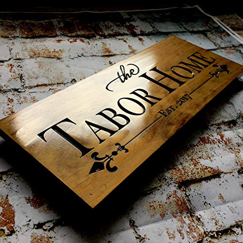 Personalized Wooden Sign Address Sign Welcome Family Cabin Established Sign