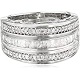Amazon Collection Sterling Silver Diamond 3 Row Band Ring