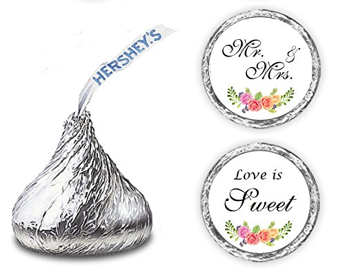 324 Floral Roses Love is Sweet Wedding Kisses Stickers. Hershey Kiss Wedding Stickers, Chocolate Drops Labels Stickers for Weddings, Bridal Shower Engagement Party, Hershey's Kisses Party ()
