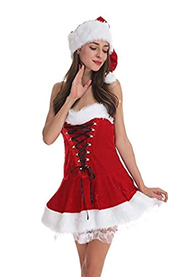 ca1be6ea3f9bf Image Unavailable. Image not available for. Color: Slimate Women's Santa  Clause Costume Jumpsuit Christmas Fantasy Holiday Costume,Dress ...