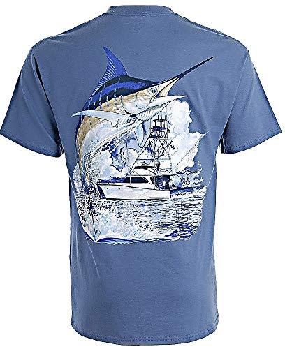 Guy Harvey Men's Marlin Boat T-Shirt, Aqua Blue, S