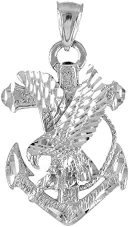 10k White Gold Navy Eagle Anchor Necklace Pendant