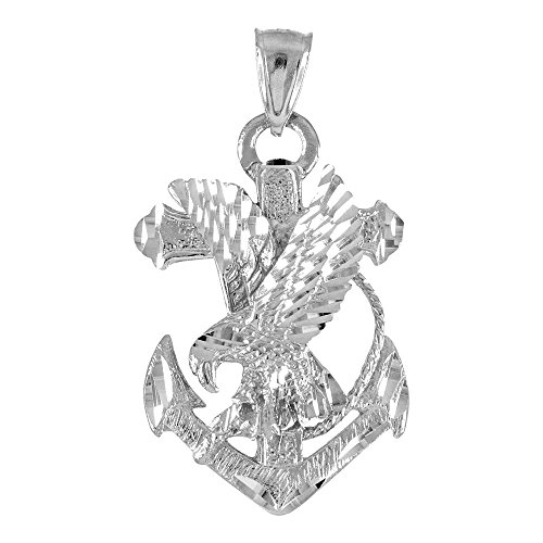 (American Heroes 925 Sterling Silver Navy Eagle Anchor Necklace)