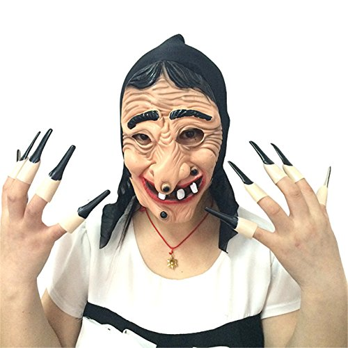 Lion Costume Bloody (Latex Long Nose Witch Horror Mask for Halloween Party Costume Decorations Cospaly Whole Toy Props)
