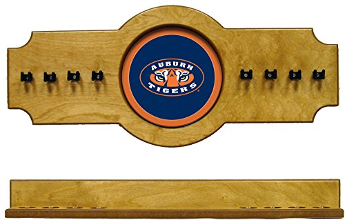 (NCAA Auburn Tigers AUBCRR200-O 2 pc Hanging Wall Pool Cue Stick Holder Rack - Oak)