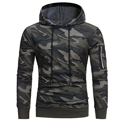 Forthery Men's Camouflage Hooded Sweatshirt Cozy