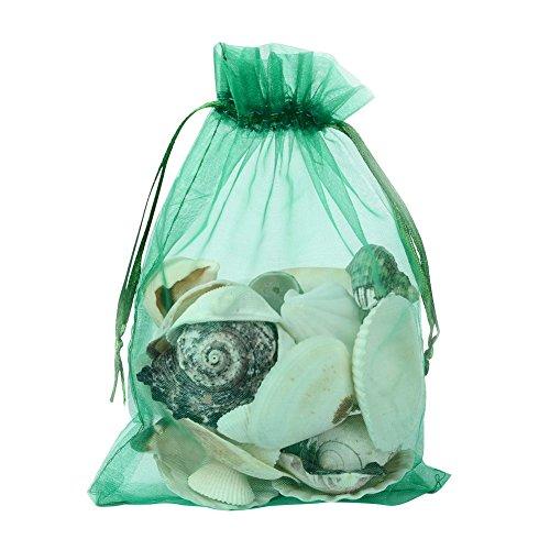 Pandahall 100 PCS 5x7 inch Green Organza Drawstring Bags Party Wedding Favor Gift ()