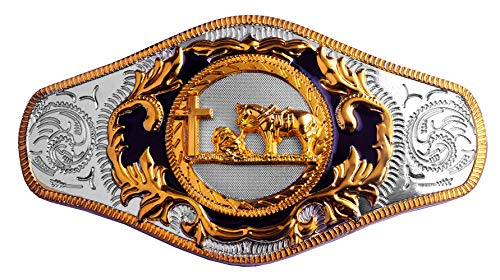 Moranse Belt Buckles With Religion Cross Cowboy And Horse Design