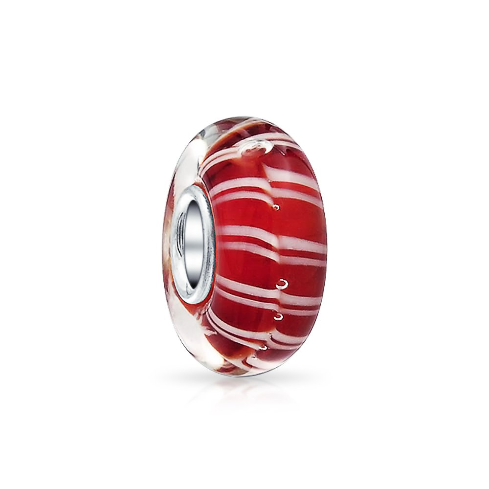 Bling Jewelry Red and white Candy Cane Stripped Murano glass Lampwork Charm Bead .925 Sterling Silver PBX-HGS-384-red-BJ