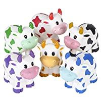 Rhode Island Novelty Colorful 2-Inches Rubber Cows 12-Pack
