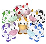 Rhode Island Novelty Colorful 2-Inches Rubber Cows | 12-Pack