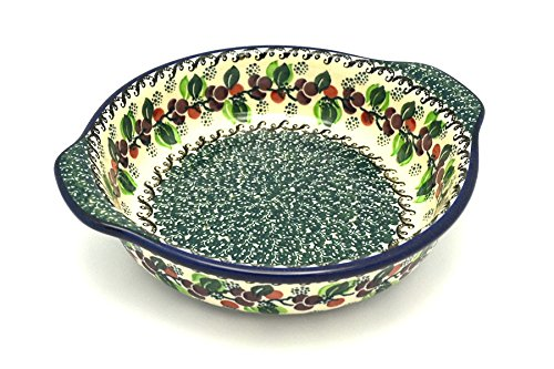 Polish Pottery Baker - Round with Grips - Medium - Burgundy Berry Green
