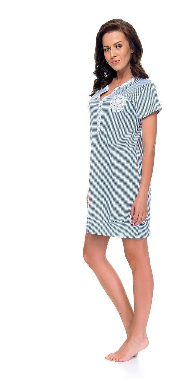dn-nightwear Damen Nachthemd für Schwangerschaft und Stillzeit TM.9087