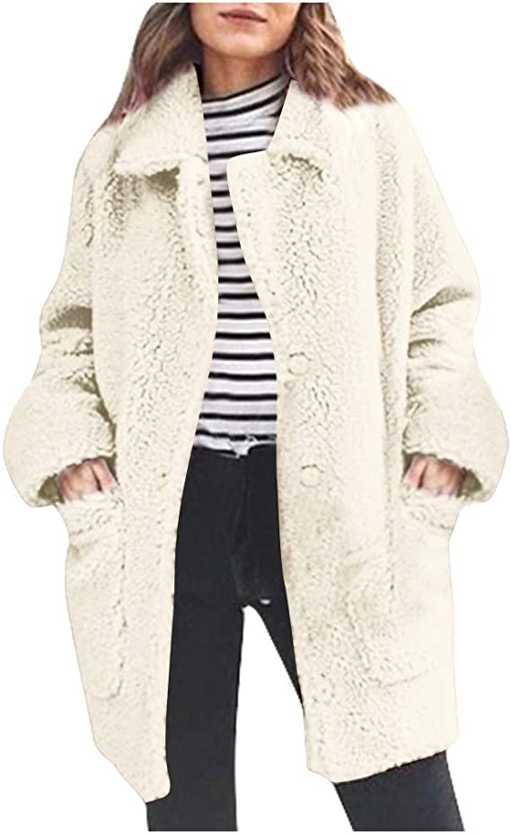 ANOKA Womens Fleece Fur Vest Winter Warm Teddy Bear Jacket Hoodie