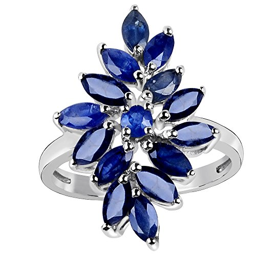 Sterling Silver Orchid - Sapphire Solid 925 Sterling Silver Ring (2.5X5MM Marquise)