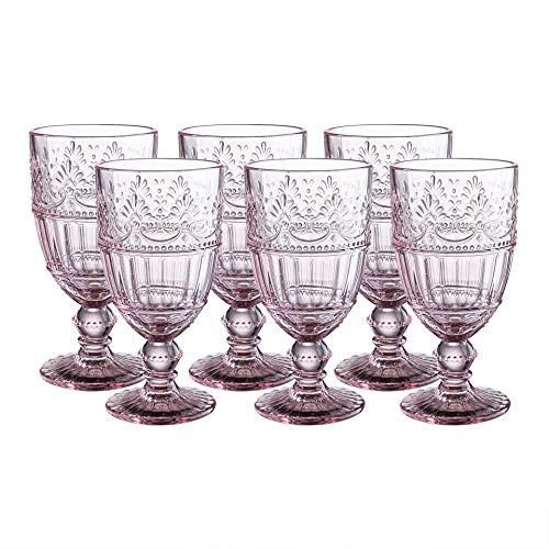 Colored Glass Goblet 11 oz Embossed Design Wedding Glass Set of 6 ()