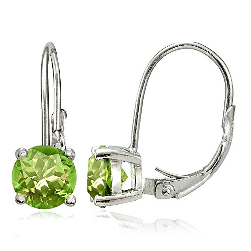 (Sterling Silver Peridot Round Prong-Set Leverback)
